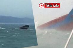 İnkumu'nda geminin batma anları saniye saniye kamerada…