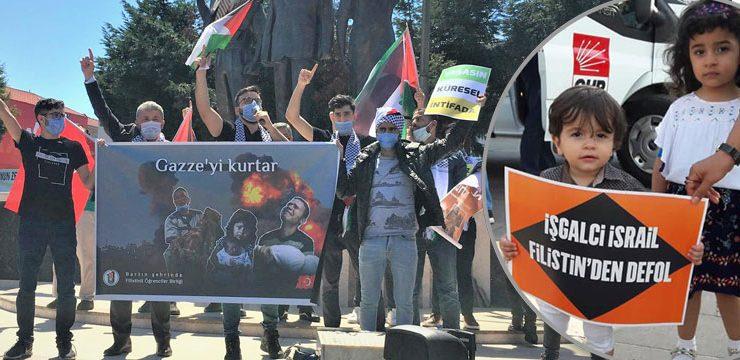 Bartın meydanında iki eylem tek mesaj: Katil İsrail Filistin'den defol