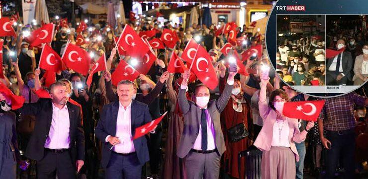 TRT, Bartın'daki 15 Temmuz meydanına üç kez bağlandı